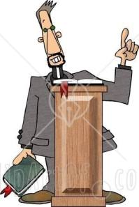 5005-Christian-Preacher-Holding-A-Bible-And-Giving-A-Speech-From-Behind-A-Podium-Clipart