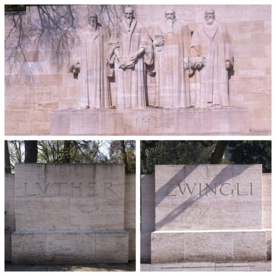 At the Mur des Réformateurs (Wall of the Reformation), William Farell, John Calvin, Theodore Beze, and John Knox are pictured at the center of the wall (pictured in top panel above). Off to the left when facing the Wall of the Reformation, a carved stone with Luther's name appears. Off to the right when facing the Wall of the Reformation, a carved stone with Zwingli's name appears. From the perspective of the Reformed Church, both Luther and Zwingli are given credit for beginning the Reformation. However, the Reformed Church does not believe Luther or Zwingli, properly reformed the church, hence the need for Calvin, Beze, and others. This is why Luther and Zwingli are represented by stones but not carved into the wall. the Reformation Wall was constructed in 1909 for the 400th birthday of Calvin.